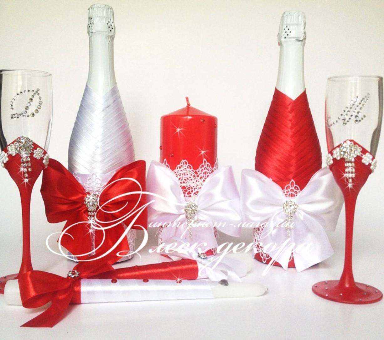 Оформление фужеров и шампанского на свадьбу своими руками